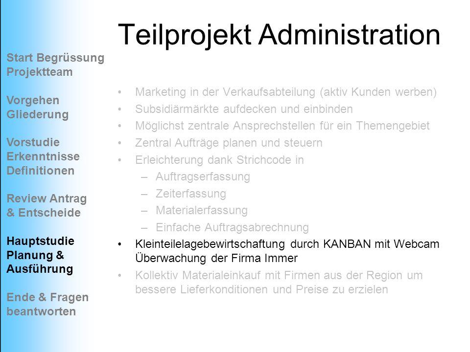 Teilprojekt Administration
