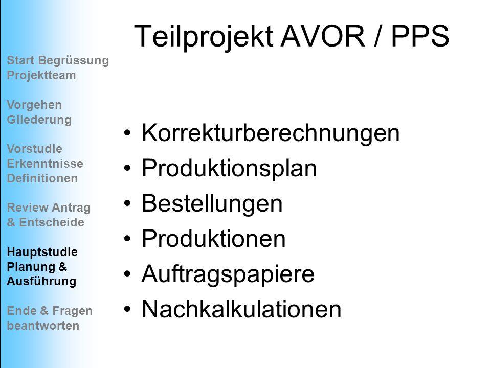 Teilprojekt AVOR / PPS Korrekturberechnungen Produktionsplan