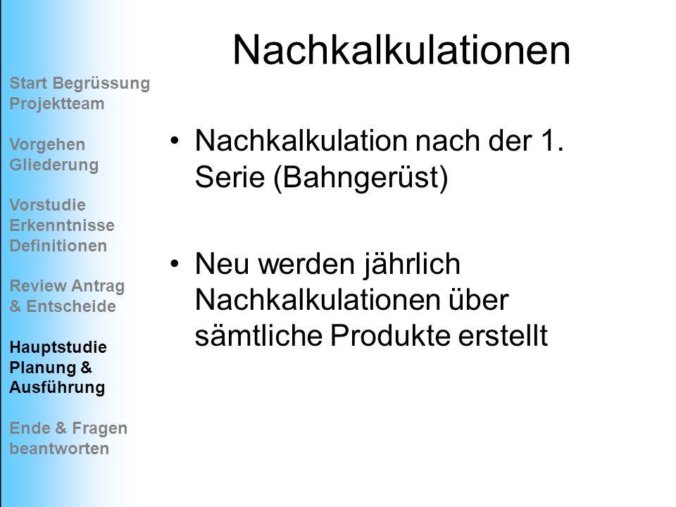 Nachkalkulationen Nachkalkulation nach der 1. Serie (Bahngerüst)