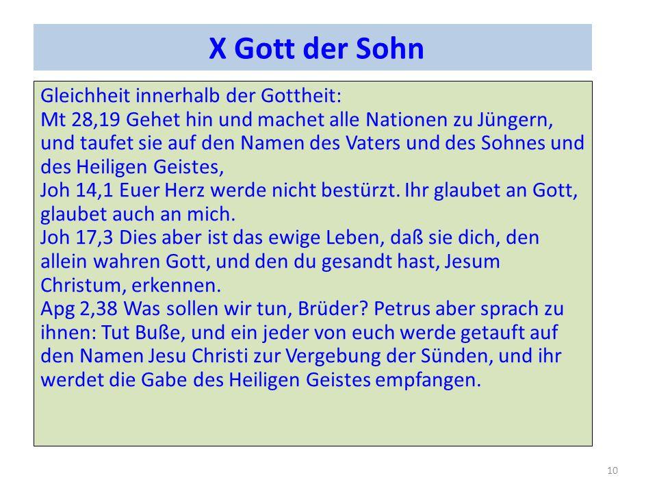 X Gott der Sohn