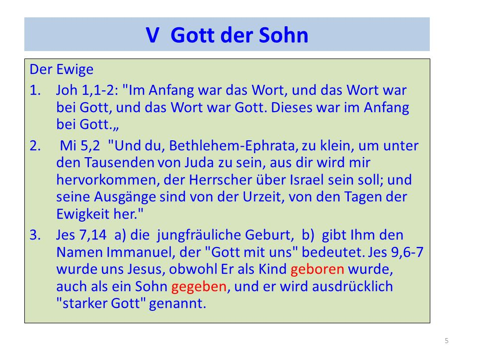 V Gott der Sohn Der Ewige