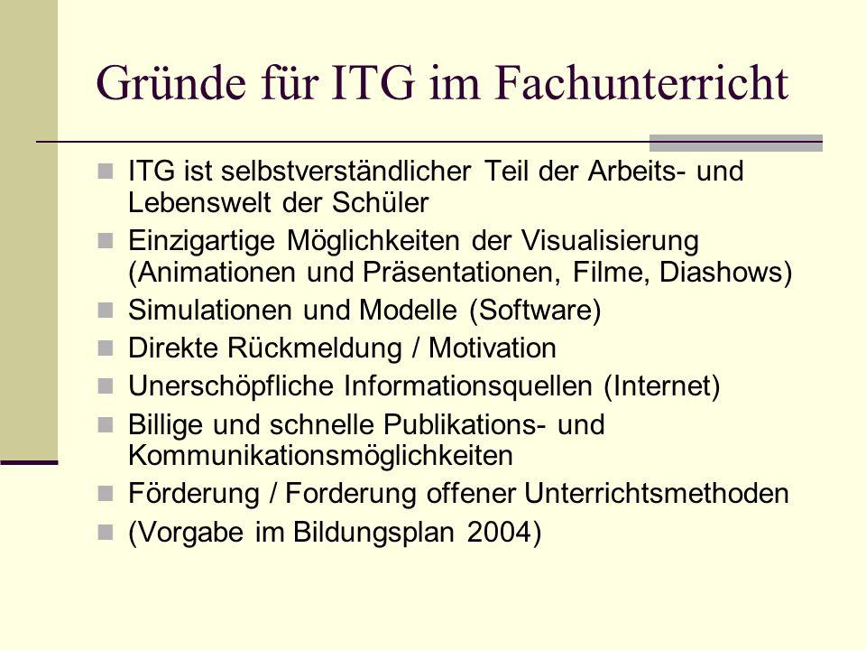 Gründe für ITG im Fachunterricht