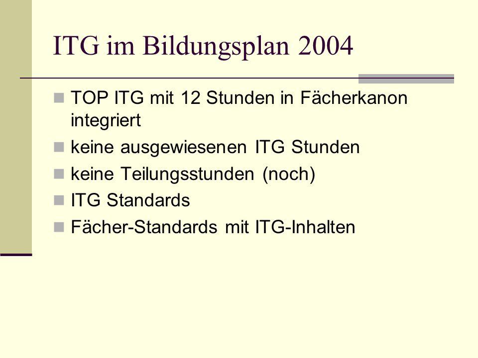 ITG im Bildungsplan 2004 TOP ITG mit 12 Stunden in Fächerkanon integriert. keine ausgewiesenen ITG Stunden.