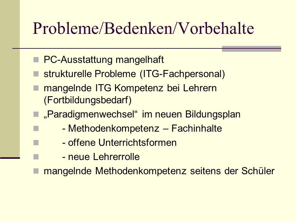 Probleme/Bedenken/Vorbehalte