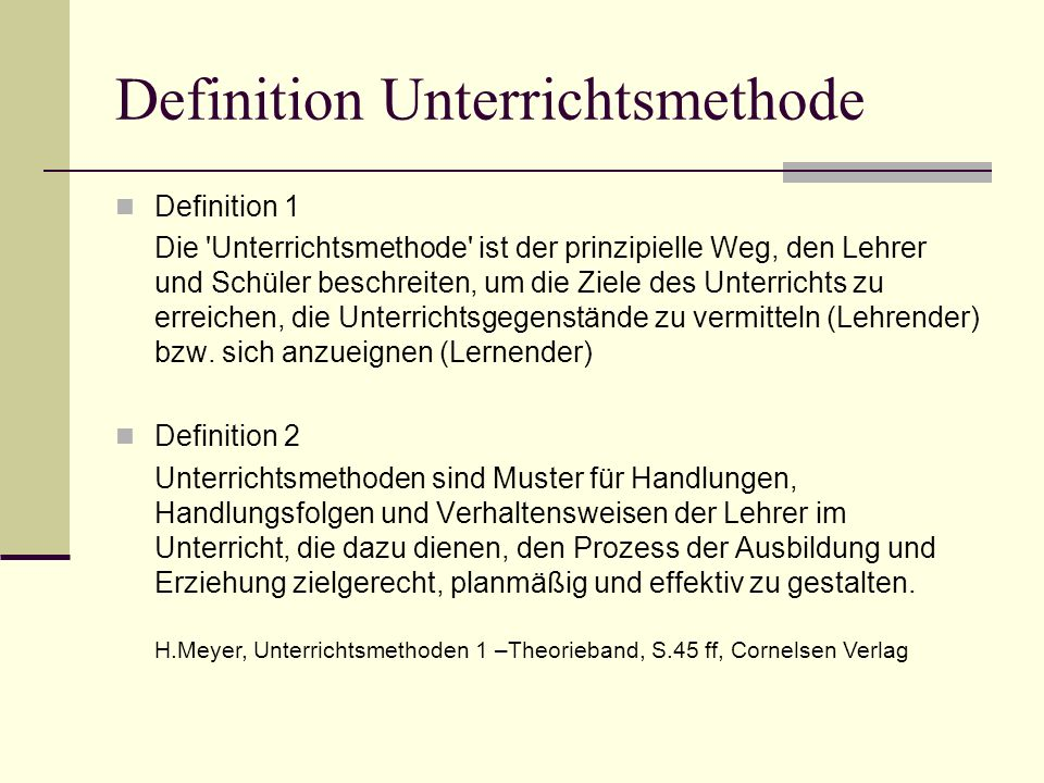 Definition Unterrichtsmethode