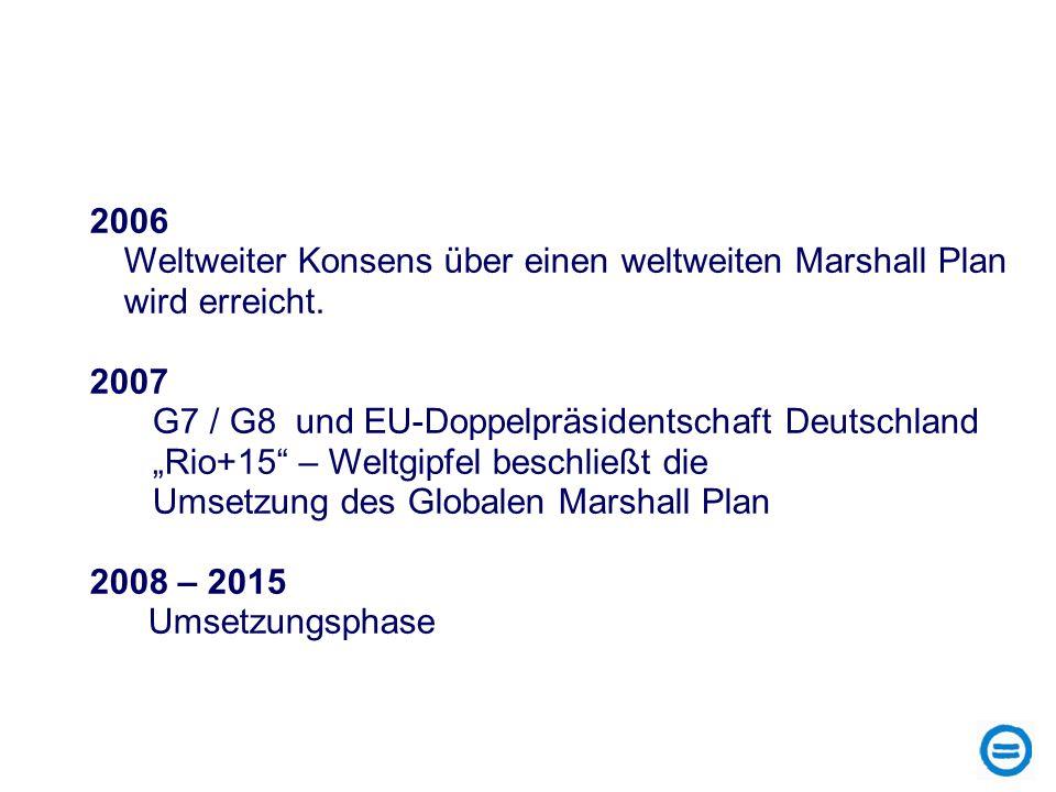 2006 Weltweiter Konsens über einen weltweiten Marshall Plan wird erreicht. 2007. G7 / G8 und EU-Doppelpräsidentschaft Deutschland.