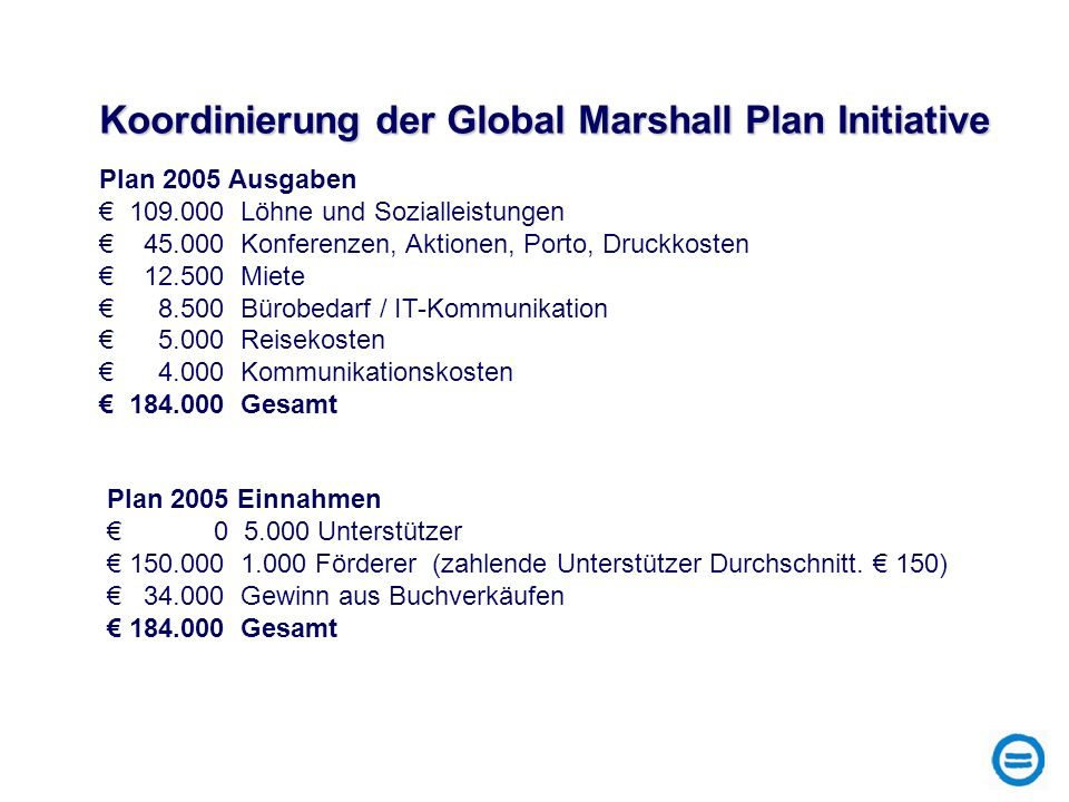 Koordinierung der Global Marshall Plan Initiative
