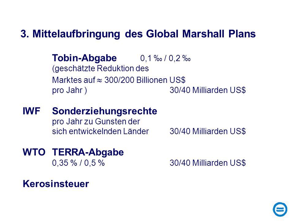 3. Mittelaufbringung des Global Marshall Plans