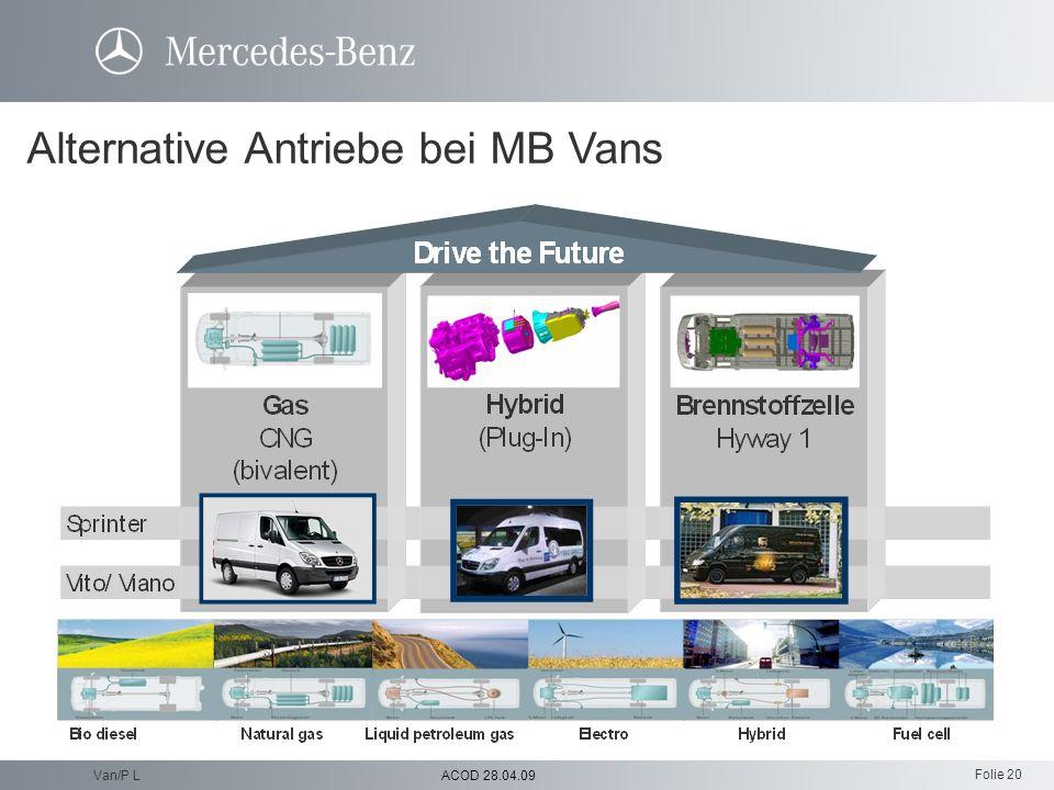 Alternative Antriebe bei MB Vans