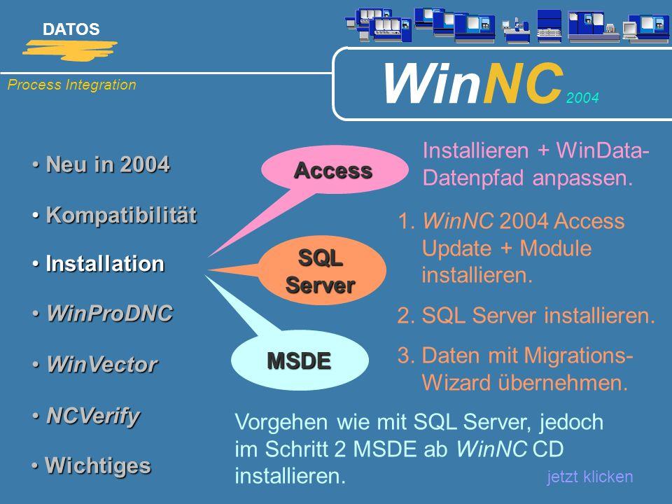 Installieren + WinData-Datenpfad anpassen. Neu in 2004 Access
