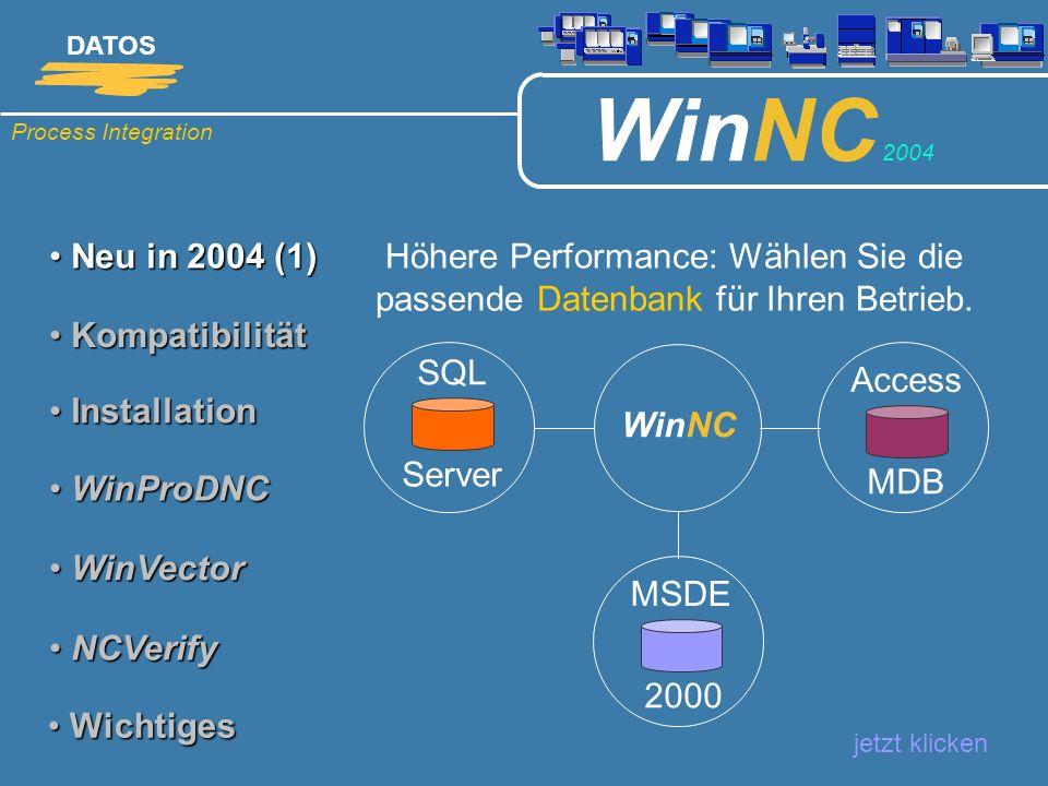 Neu in 2004 (1)Höhere Performance: Wählen Sie die passende Datenbank für Ihren Betrieb. Kompatibilität.