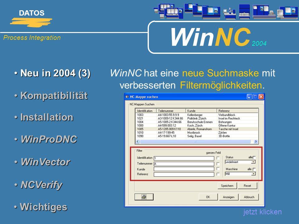 WinNC hat eine neue Suchmaske mit verbesserten Filtermöglichkeiten.