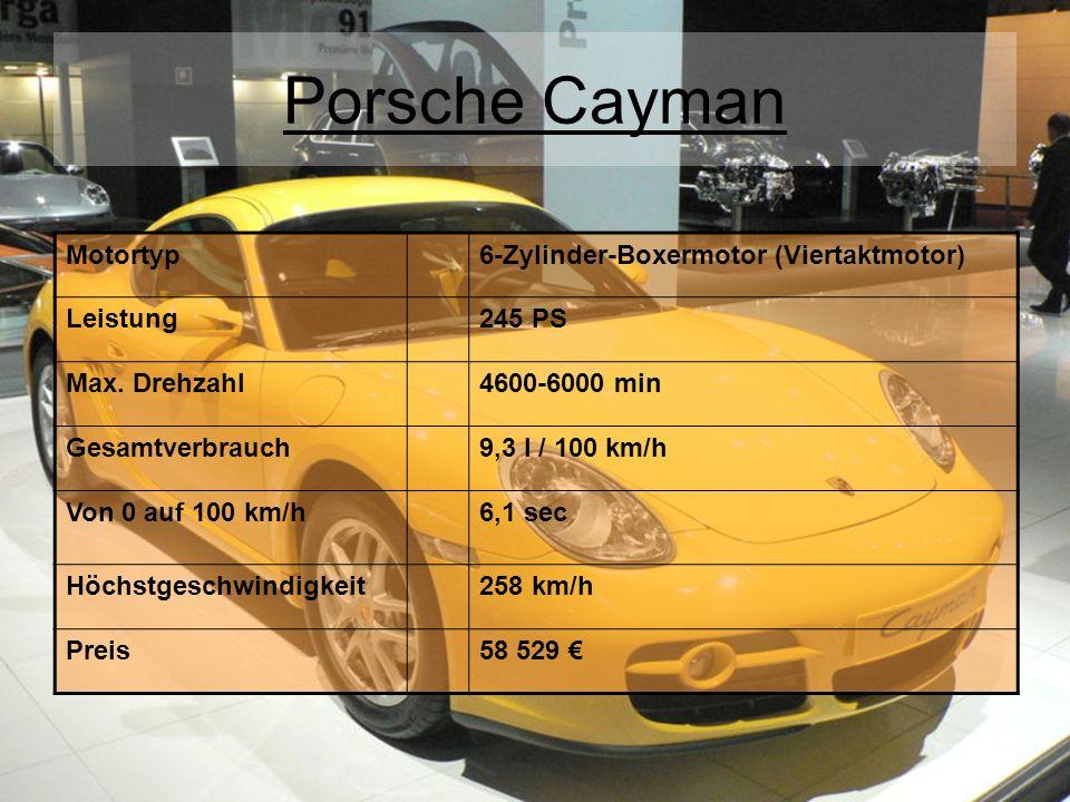Porsche Cayman Motortyp 6-Zylinder-Boxermotor (Viertaktmotor) Leistung