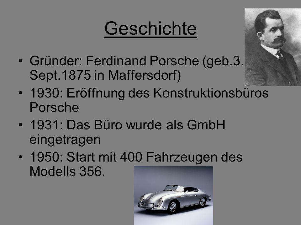 Geschichte Gründer: Ferdinand Porsche (geb.3. Sept.1875 in Maffersdorf) 1930: Eröffnung des Konstruktionsbüros Porsche.