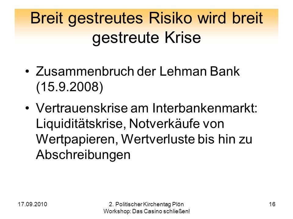 Breit gestreutes Risiko wird breit gestreute Krise