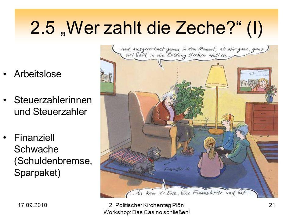 """2.5 """"Wer zahlt die Zeche (I)"""