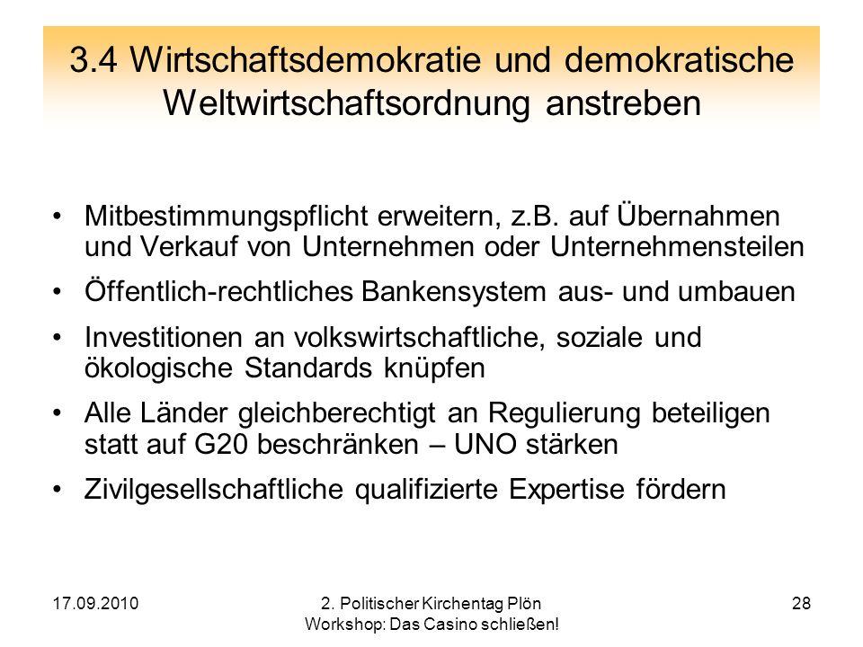 2. Politischer Kirchentag Plön Workshop: Das Casino schließen!