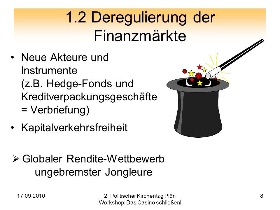 1.2 Deregulierung der Finanzmärkte