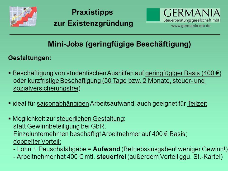 Mini-Jobs (geringfügige Beschäftigung)