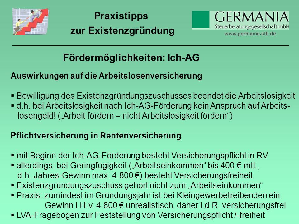 Fördermöglichkeiten: Ich-AG