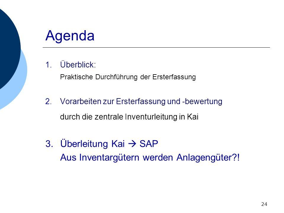 Agenda durch die zentrale Inventurleitung in Kai Überleitung Kai  SAP