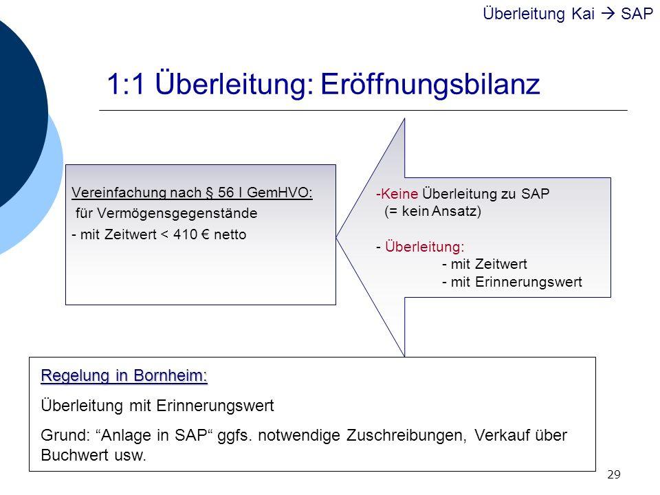 1:1 Überleitung: Eröffnungsbilanz