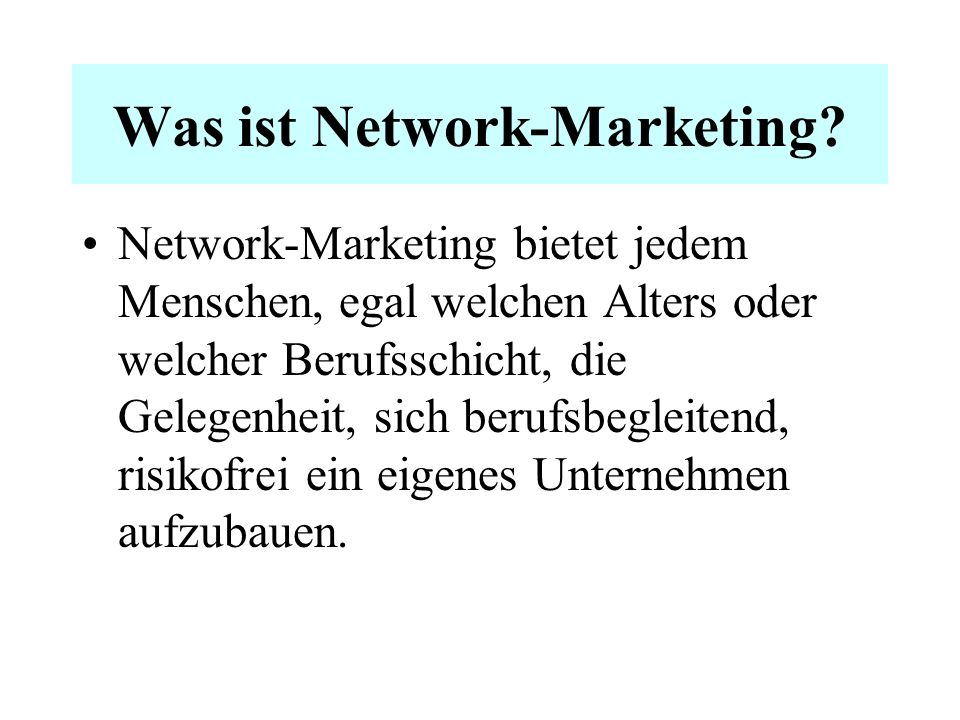 Was ist Network-Marketing