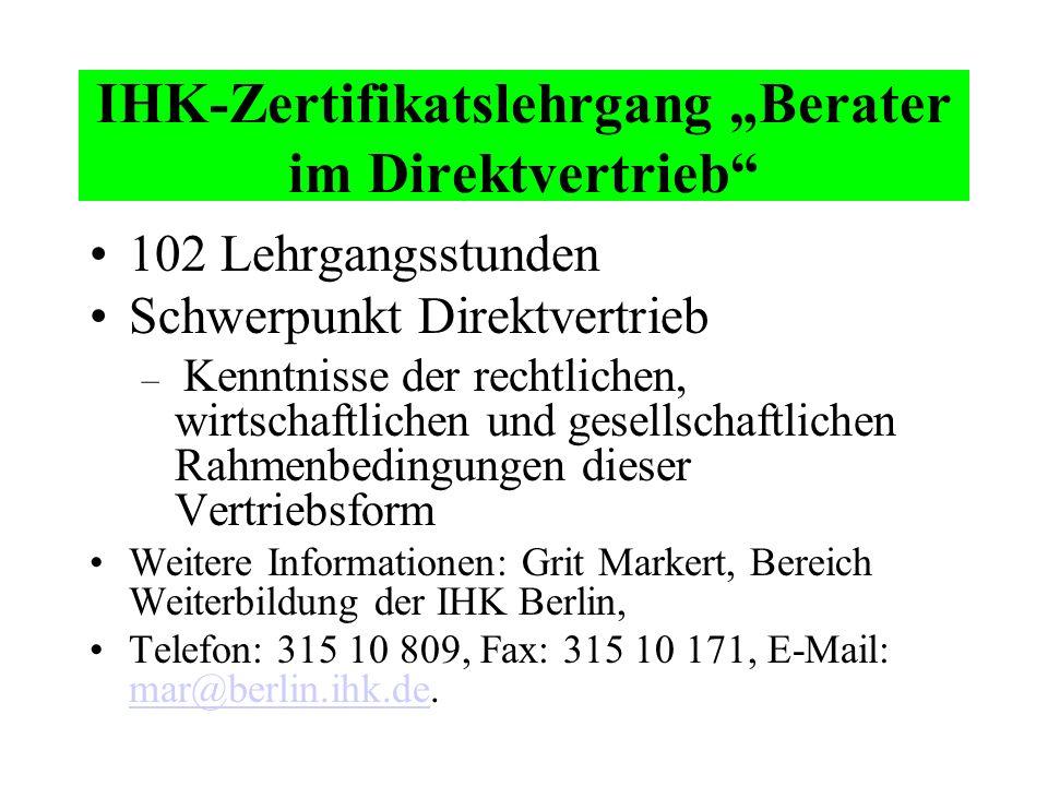 "IHK-Zertifikatslehrgang ""Berater im Direktvertrieb"