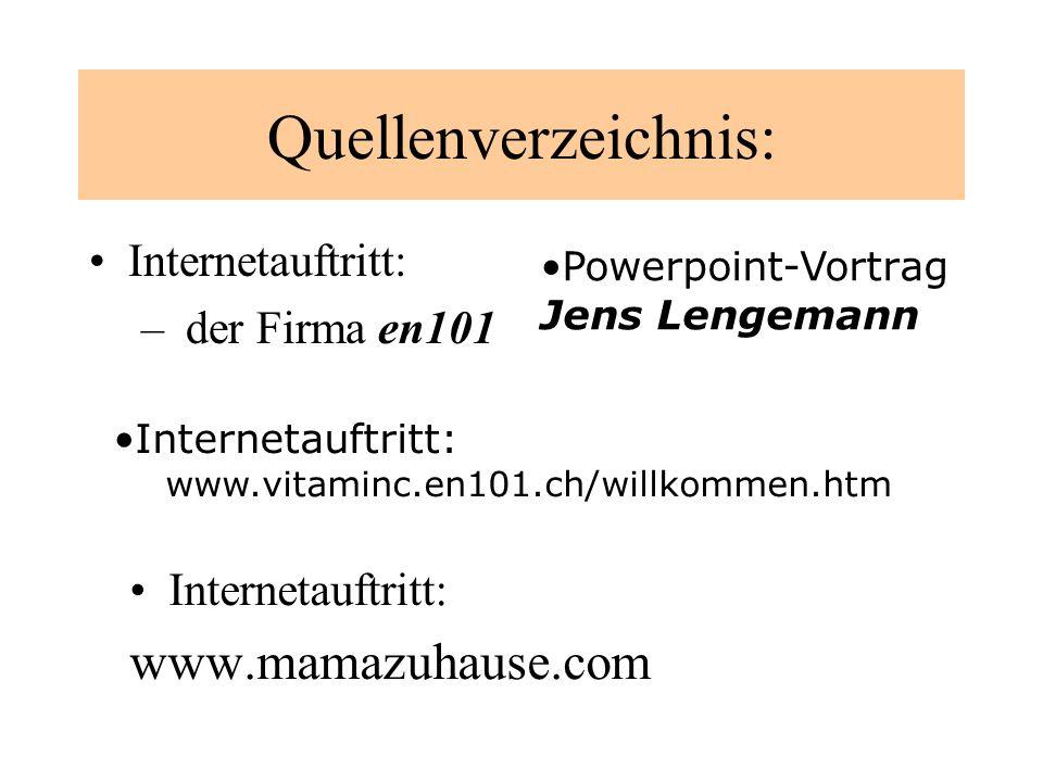Quellenverzeichnis: www.mamazuhause.com Internetauftritt: