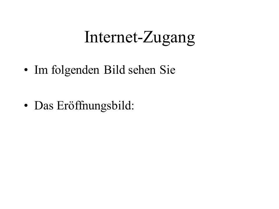 Internet-Zugang Im folgenden Bild sehen Sie Das Eröffnungsbild: