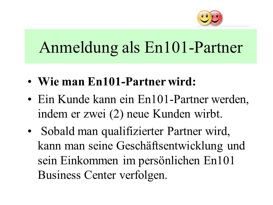 Anmeldung als En101-Partner