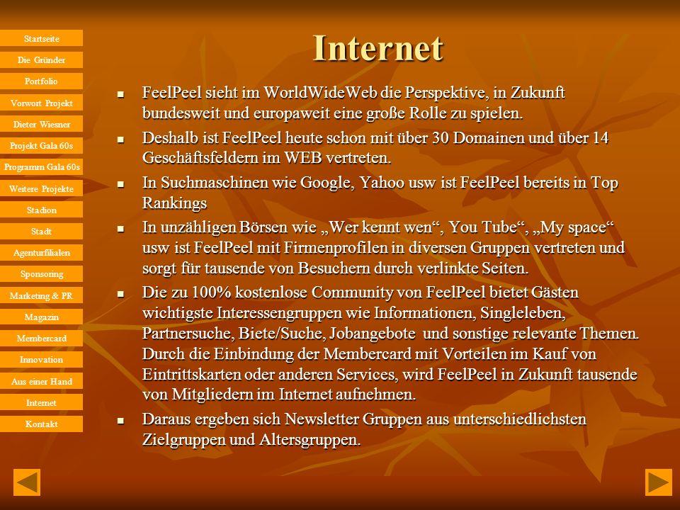 Internet FeelPeel sieht im WorldWideWeb die Perspektive, in Zukunft bundesweit und europaweit eine große Rolle zu spielen.
