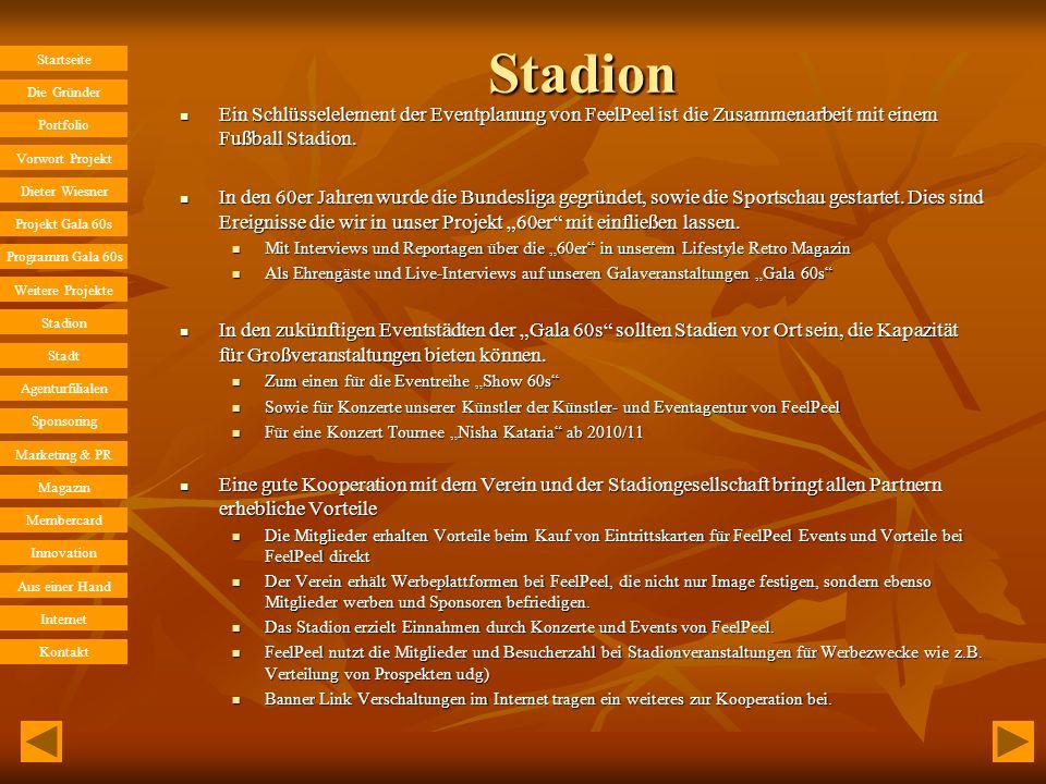 Stadion Ein Schlüsselelement der Eventplanung von FeelPeel ist die Zusammenarbeit mit einem Fußball Stadion.