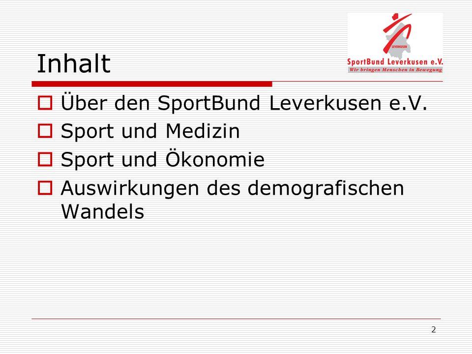 Inhalt Über den SportBund Leverkusen e.V. Sport und Medizin