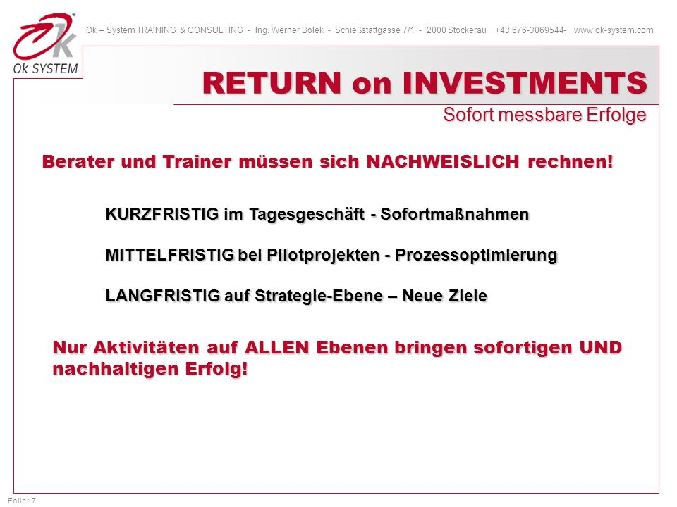 RETURN on INVESTMENTS Sofort messbare Erfolge