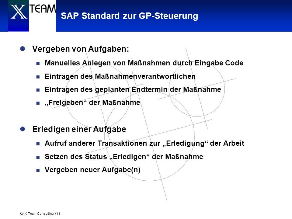SAP Standard zur GP-Steuerung
