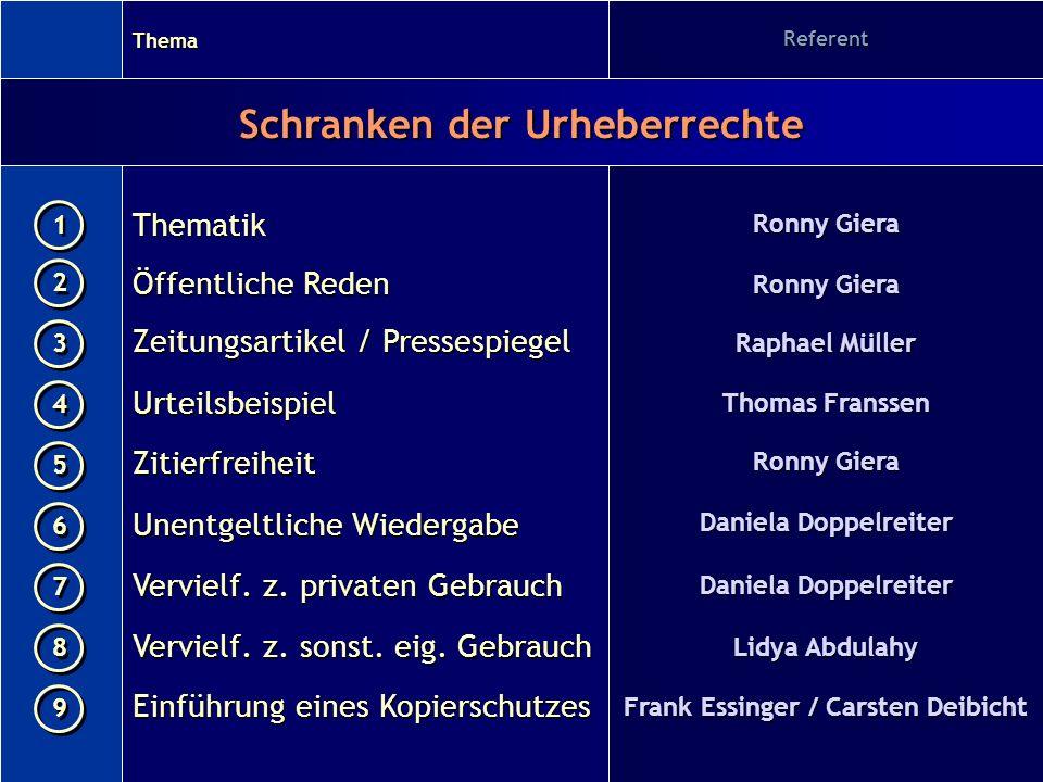 Frank Essinger / Carsten Deibicht Schranken der Urheberrechte
