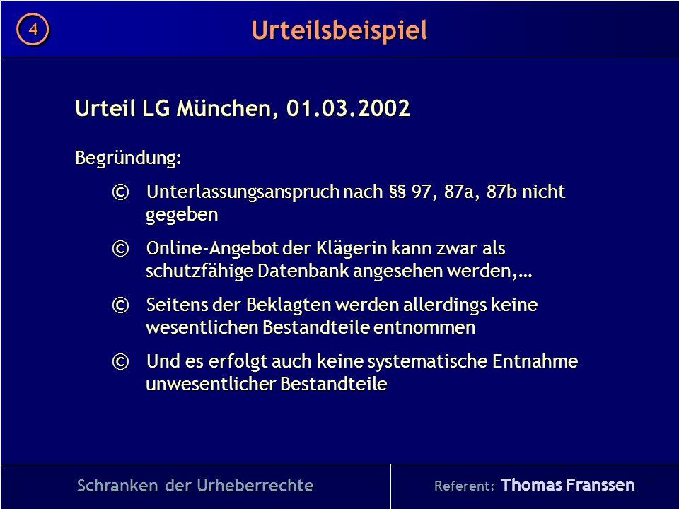 Schranken der Urheberrechte Referent: Thomas Franssen