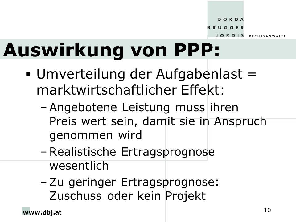 Auswirkung von PPP: Umverteilung der Aufgabenlast = marktwirtschaftlicher Effekt: