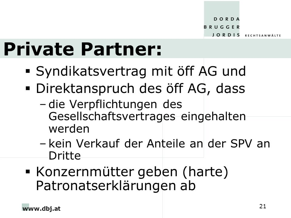 Private Partner: Syndikatsvertrag mit öff AG und