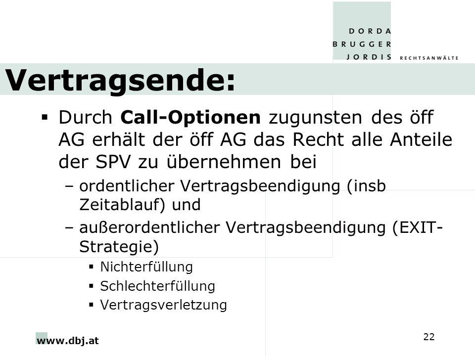 Vertragsende: Durch Call-Optionen zugunsten des öff AG erhält der öff AG das Recht alle Anteile der SPV zu übernehmen bei.