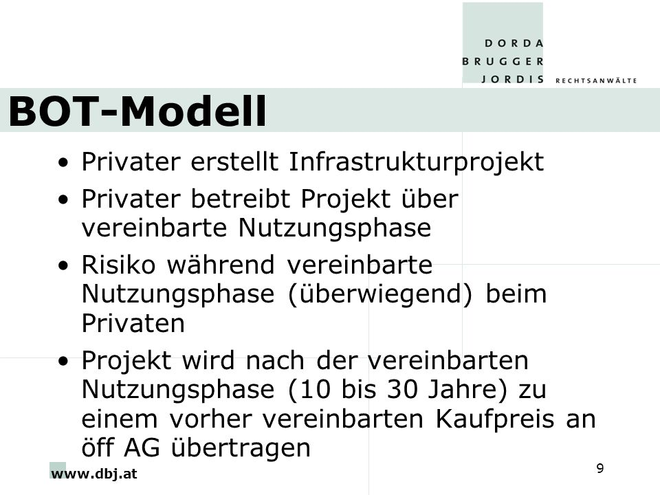 BOT-Modell Privater erstellt Infrastrukturprojekt