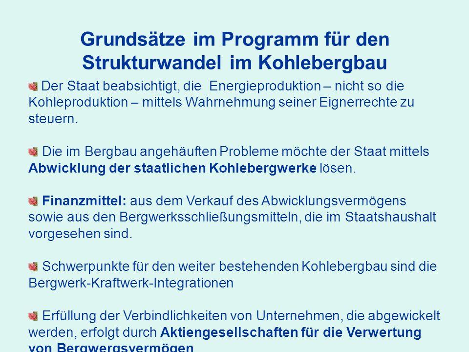 Grundsätze im Programm für den Strukturwandel im Kohlebergbau