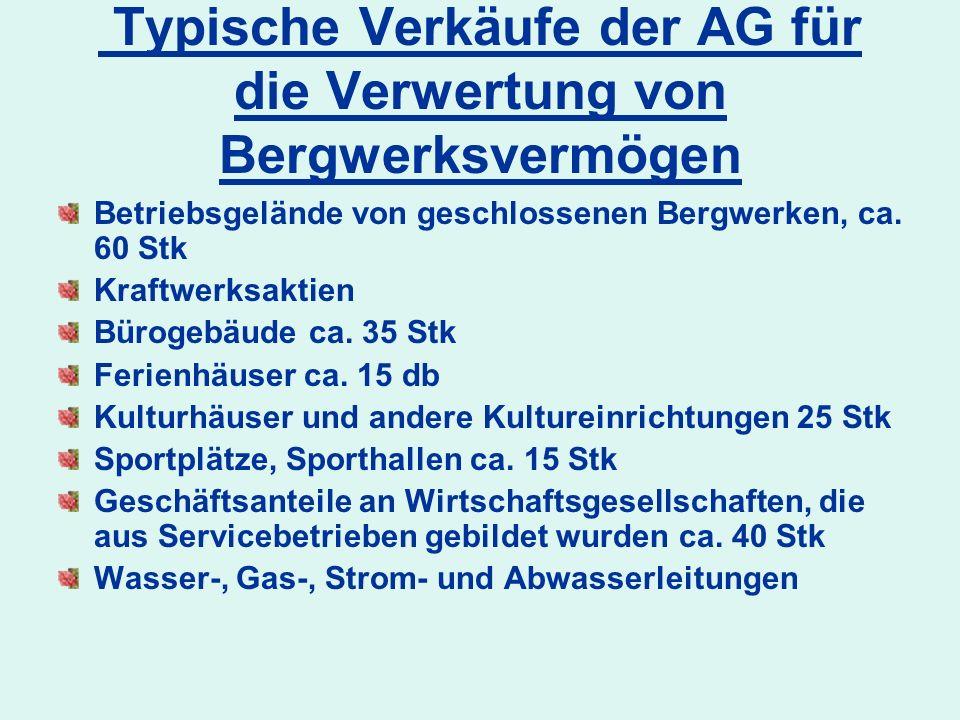 Typische Verkäufe der AG für die Verwertung von Bergwerksvermögen