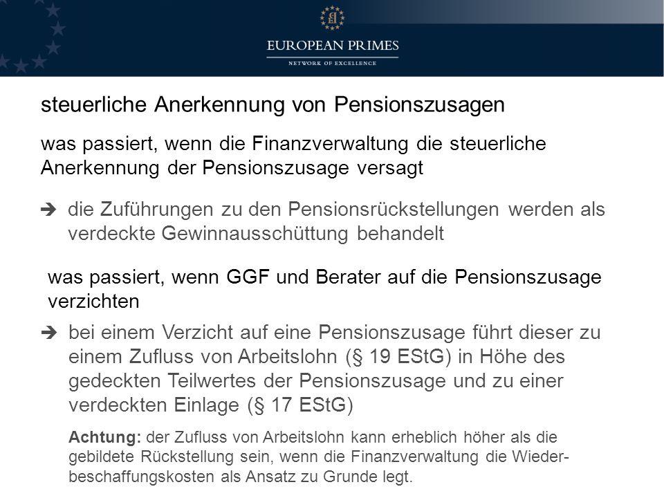 steuerliche Anerkennung von Pensionszusagen