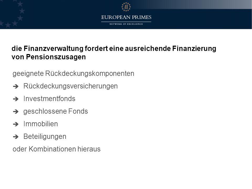 die Finanzverwaltung fordert eine ausreichende Finanzierung von Pensionszusagen