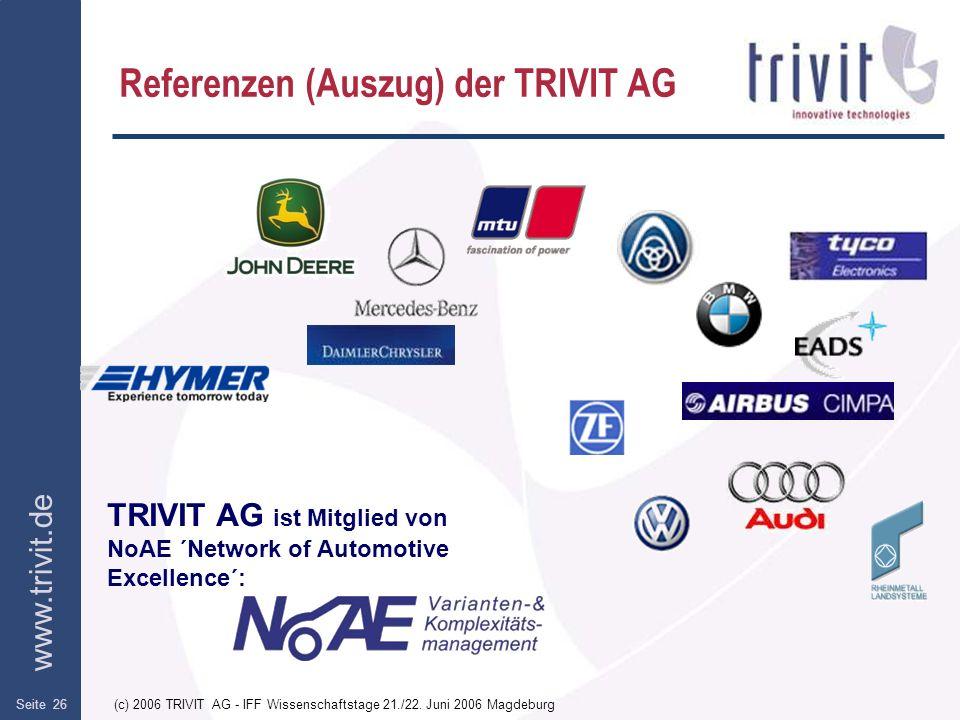 Referenzen (Auszug) der TRIVIT AG
