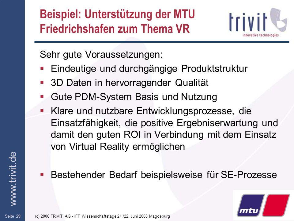 Beispiel: Unterstützung der MTU Friedrichshafen zum Thema VR