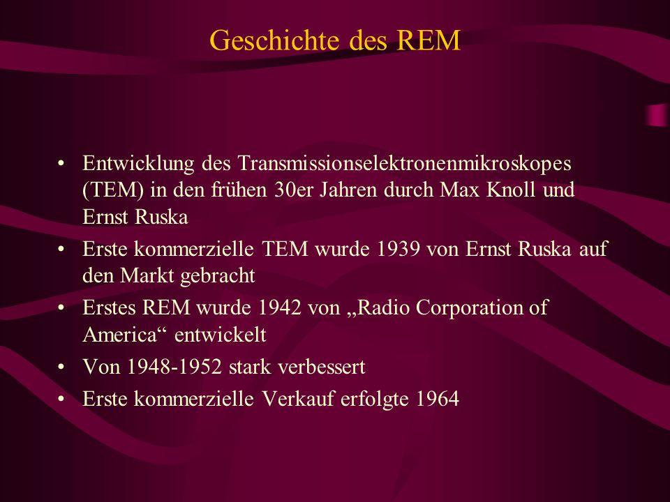 Geschichte des REM Entwicklung des Transmissionselektronenmikroskopes (TEM) in den frühen 30er Jahren durch Max Knoll und Ernst Ruska.