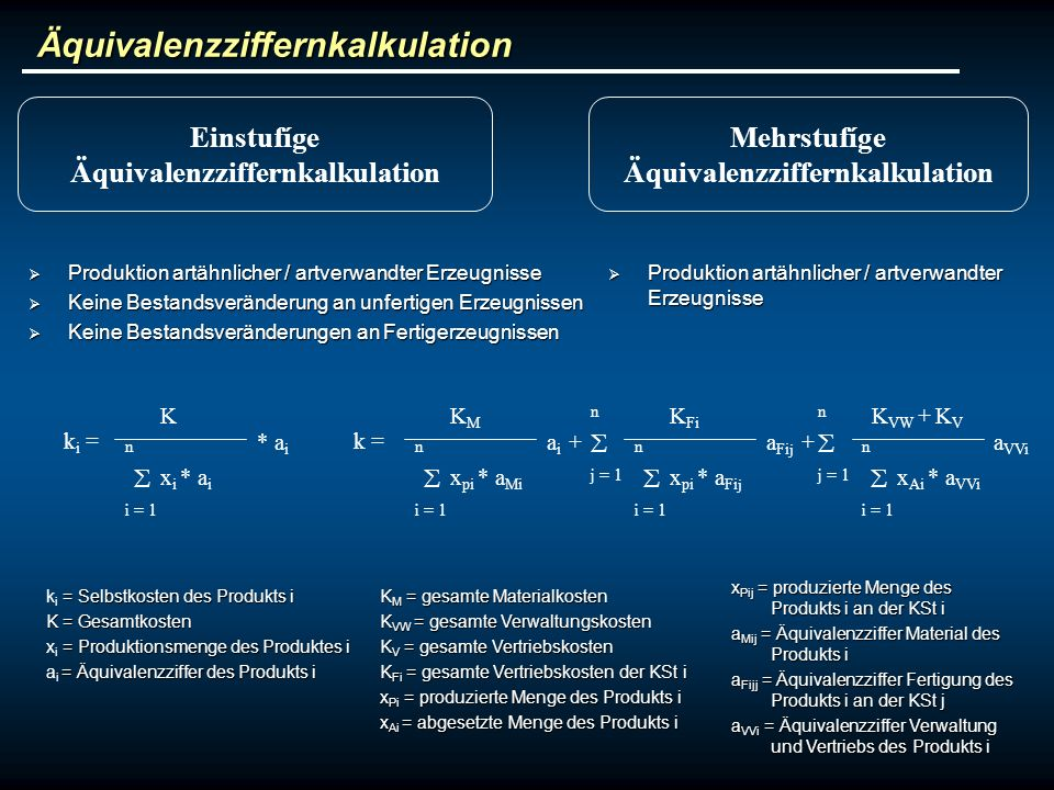 Äquivalenzziffernkalkulation Äquivalenzziffernkalkulation